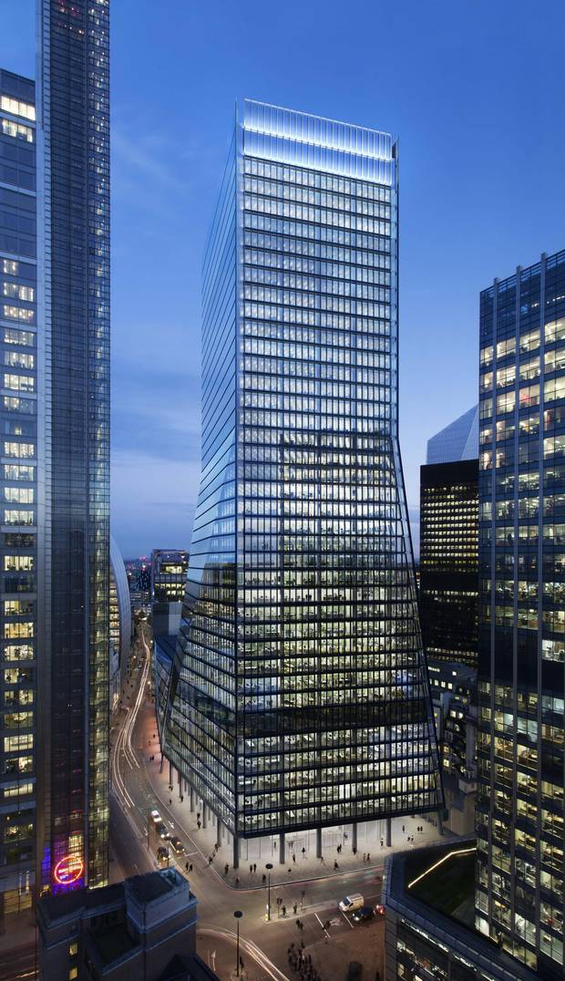 The 100 Bishopsgate development, shown in this artist's depiction, isn't the highest building in London's financial district but, at 900,000 square feet, it is to be the biggest.