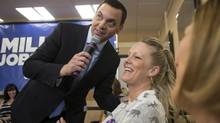 Ontario Progressive Conservative Leader Tim Hudak holds a town hall meeting in a hair salon in Pickering, Ont., on May 27 , 2014. (CHRIS YOUNG/THE CANADIAN PRESS)