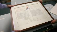 The Proclamation of the Constitution Act of 1982 is put back into storage at The Library and Archives Canada Preservation Centre in Gatineau, Que. (Dave Chan/Dave Chan for The Globe and Mail)
