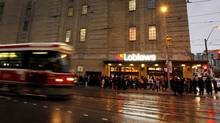 Shoppers lined up for hours to get into the new Loblaws store housed inside the historic Maple Leaf Gardens. (Peter Power/The Globe and Mail/Peter Power/The Globe and Mail)