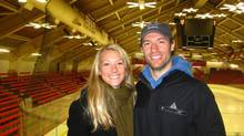 NHL hockey player Dominic Moore and his late wife Katie, who died of liver cancer. This photo was taken at Alexander Bright Arena in Boston February, 2010.