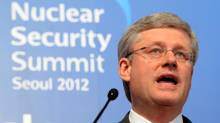 Prime Minister Stephen Harper holds a press conference at the close of the Nuclear Security Summit in Seoul on March 27, 2012. (Sean Kilpatrick/The Canadian Press/Sean Kilpatrick/The Canadian Press)