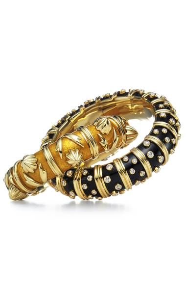 Yellow paillonné enamel bracelet with 18-karat gold accents by Jean Schlumberger, black enamel bracelet with diamonds by Jean Schlumberger, $39,600 and $97,000 at Tiffany & Co. (www.tiffany.ca). (Handout)