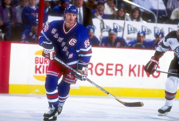 Gretzky in the first of his three seasons with the New York Rangers in 1996.