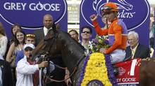 Jockey Garrett Gomez, atop Beholder, celebrates in the winner's circle after the running of the Breeders' Cup Grey Goose Juvenile Fillies thoroughbred horse race at Santa Anita Park in Arcadia, California, November 2, 2012. (DANNY MOLOSHOK/REUTERS)
