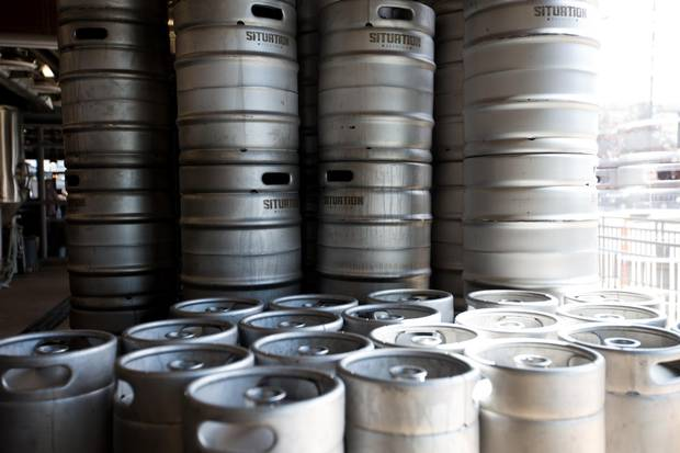 Kegs at Situation Brewery in Edmonton.