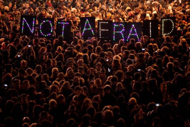 People gather in Paris on Jan. 7, 2015.