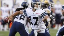 Toronto Argonauts quarterback Zach Collaros throws during first half CFL pre-season game action against the Winnipeg Blue Bombers in Winnipeg on June 12, 2013. (John Woods/THE CANADIAN PRESS)