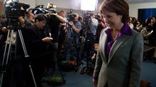 British Columbia Premier Christy Clark leaves after a news conference at her office in Vancouver, B.C., on Wednesday May 15, 2013, after winning a majority in the provincial election Tuesday. (DARRYL DYCK/THE CANADIAN PRESS)