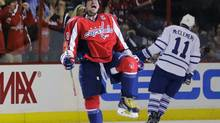 Washington Capitals left wing Alex Ovechkin (8), from Russia, celebrates his goal in the second period of their game against the Toronto Maple Leafs on Tuesday, April 16, 2013 in Washington. (Alex Brandon/AP)
