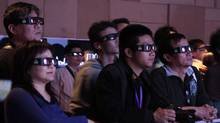 Visitors view 3D movie. (Kevin Lee/Kevin Lee For The Globe and Mail)