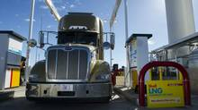A truck is fuelled with liquefied natural gas at the Shell Flying J truck stop north of Calgary. (Shell Canada)