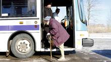 Joanne Spearing, an 80-year-old resident of Welland, Ont., slowly disembarks from a city bus. Urban planners say more attention needs to be paid to the special demands of an aging population. (Fernando Morales/Fernando Morales/The Globe and Mail)