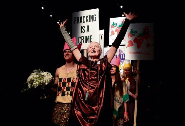 Westwood bringing protest energy to the runways at London Fashion Week.