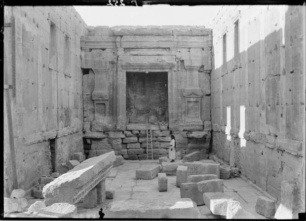 "The inner part of the Temple of Bel's ""cella,"" shown some time between 1898 and 1946."