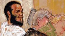 Canadian defendant Omar Khadr attends his hearing in the courthouse for the U.S. military war crimes commission at Guantanamo Bay U.S. Naval Base in Cuba on Aug. 9, 2010. (Janet Hamlin Illustration)