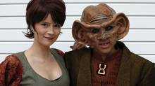 Silvana Gunther and Boris Murru of Berlin pose for a photograph as they arrive at the Destination Star Trek London convention in London on Friday. (SUZANNE PLUNKETT/REUTERS)