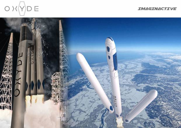 The Oxyde would fly into space by riding on top of a super heavy lift-launch vehicle.