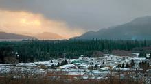 The town of Kitimat, B.C., with Douglas Channel in the distance. Shell is pursuing plans to build an LNG plant in Kitimat to ship natural gas produced from northeastern B.C. shale deposits to Asian markets. (Darryl Dyck/The Canadian Press/Darryl Dyck/The Canadian Press)