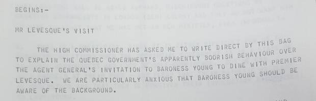An excerpt from the documents about Mr. Lévesque's diplomatic gaffe in London.