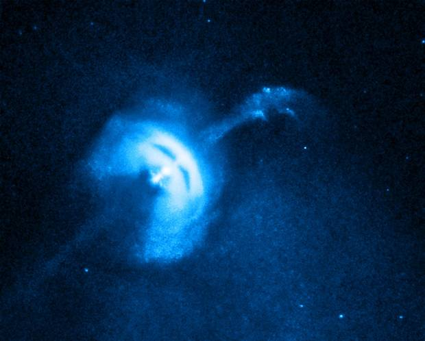 Pulsars are rapidly spinning cores that are left over from stars that went supernova.