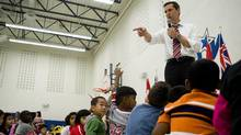 Ontario Premier Dalton McGuinty addresses the students of Mount Joy Public School on the first day of school in Markham, Ont., on Tuesday, September 7, 2010. McGuinty says the new all-day learning program for four-and-five-year-olds is a key reason to vote Liberal in next year's Ontario election. (Adrien Veczan/The Canadian Press)