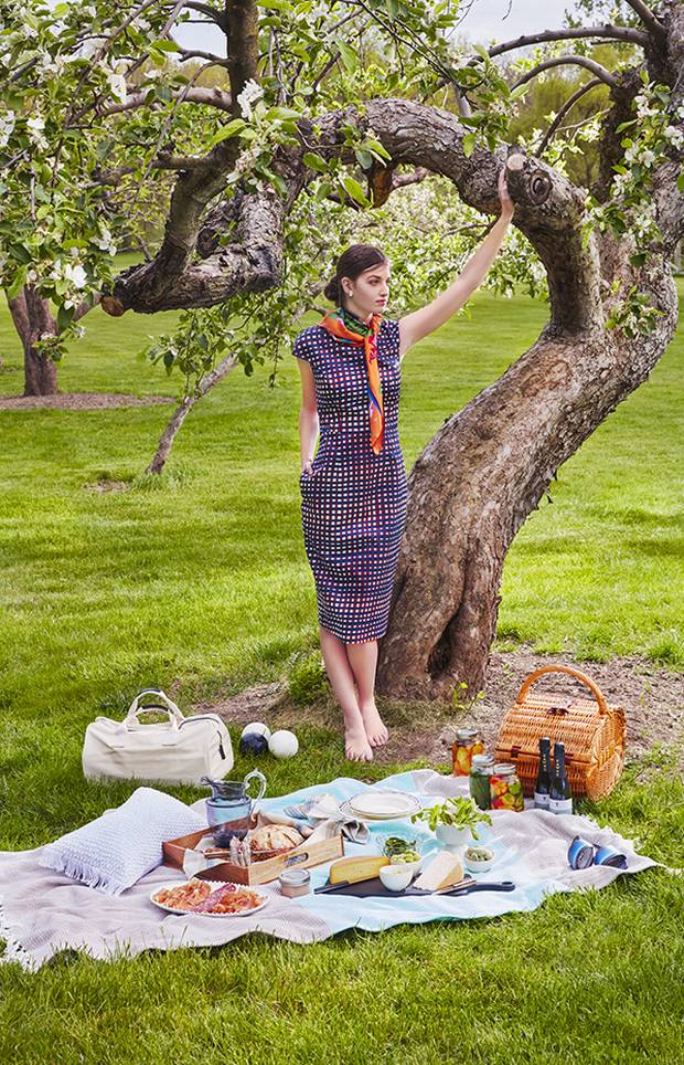 Stella Jean dress, $795, Valentino scarf, $520 at Holt Renfrew (www.holtrenfrew.com). Loewe shoes, $690, Rebekah Price earrings, $75 at Nordstrom. Oval wicker picnic basket, $49.99, Oatmeal and blue woven blanket, $29.99, Wooden tray, $29.99 at Home Sense (www.homesense.ca). Bocce ball set, $199.95 at Crate Barrel (www.crateandbarrel.com). Blackened paddle, $150, Miranda melamine tablewear, $22-$26.50, Costa Nova pearl white oval platter, $70, Costa Nova pearl fruit bowl, $23, Costa Nova footed bowl, $70, Federica pitcher, $95, Cellandi horned steak knife, $185, Cellandi Navette ebony steak knife, $205, Cellandi kitchen knife, $235 at Hopson Grace (www.hopsongrace.com).
