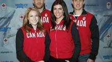 Canadian Olympic skeleton athletes, left to right, Sarah Reid, Eric Neilson, Mellisa Hollingsworth, and John Fairbairn were named to the 2014 Olympic Skeleton Team that will compete in Sochi at a news conference in Calgary, Alta., Wednesday, Dec. 18, 2013. (Jeff McIntosh/THE CANADIAN PRESS)