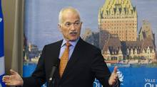 NDP Leader Jack Layton reponds to reporters questions at a news conference Monday, April 18, 2011, in Quebec City. (Jacques Boissinot/The Canadian Press/Jacques Boissinot/The Canadian Press)