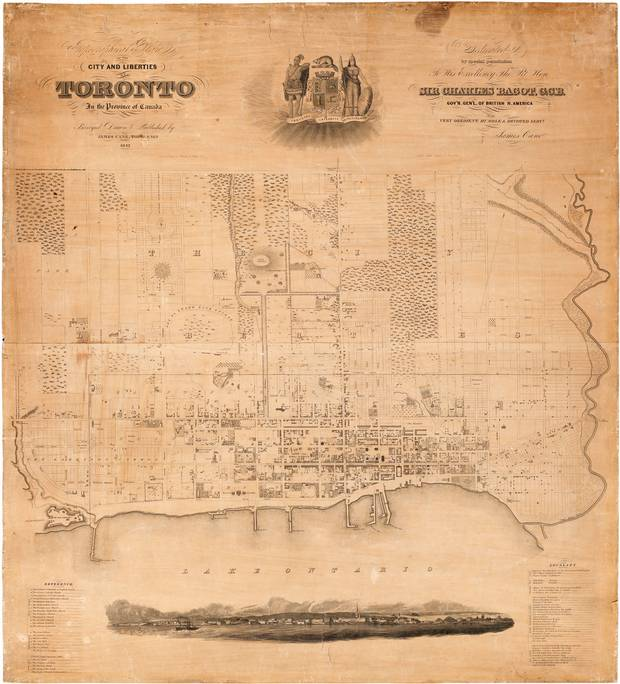 James Cane's topographical map of Toronto, circa 1842.