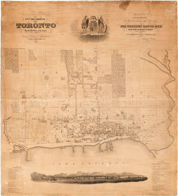 James Cane's topographical map of Toronto, circa 1842.
