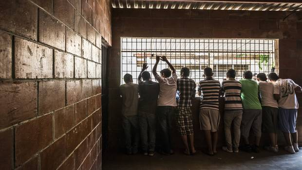 Young men, in a jail for minors for committing gang-related crimes, in San Salvador, El Salvador, May 28, 2015.