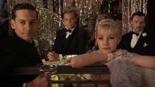 "(L-r) Tobey Maguire as Nick Carraway, Leonardo DiCaprio as Jay Gatsby, Carey Mulligan as Daisy Buchanan and Joel edgerton as Tom Buchanan in a scene from ""The Great Gatsby"" (Courtesy of Warner Bros. Pictures)"