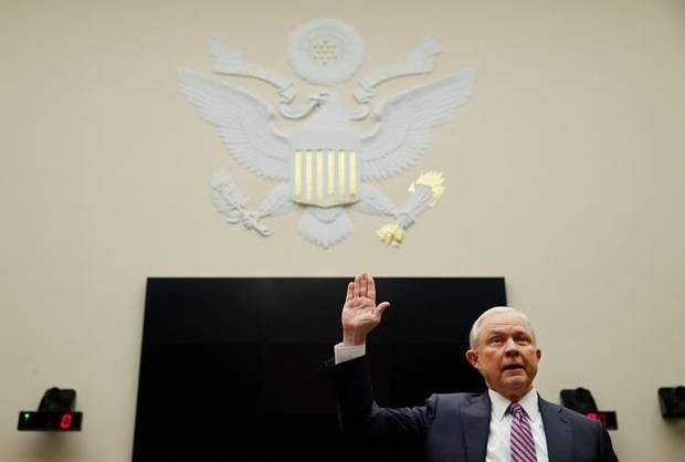 Attorney General Jeff Sessions is sworn in before the House Judiciary Committee on Capitol Hill, Tuesday, Nov. 14, 2017 in Washington. Sessions is expected to answer a range of questions from Russian meddling in the presidential campaign and his interest in a special counsel to investigate the Clinton Foundation.