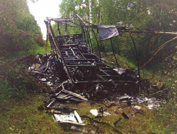 The burnt motorhome belonging to Lyle and Marie McCann is shown in an evidence photo released at the Travis Vader trial.
