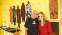 Ted Hunter, founder of Roarockit Skateboard Co. with his wife, Norah Jackson, came up with a new way to shape wood veneer. But he isn't sure what to do with his patented method, which could be used on furniture and other wood products. (Rob De Freitas)