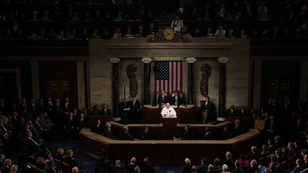 Pope Francis addresses a joint meeting of Congress from the dais of the House of Representatives on Thursday in Washington, DC. Treated as a visiting head of state, Pope Francis is the first pope to address U.S. lawmakers inside the Capitol building.