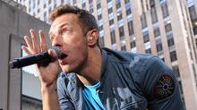 "In this image released by NBC, singer Chris Martin of the music group Coldplay performs on the ""Today"" show, Friday, Oct. 21, 2011 in New York. (Peter Kramer/Peter Kramer/NBC/AP)"