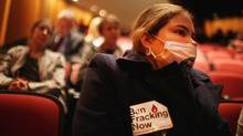 A fracking opponent attends a public hearing on proposed hydraulic fracturing regulations in upstate New York, Nov. 30, 2011 in New York City. (Spencer Platt/Getty Images/Spencer Platt/Getty Images)