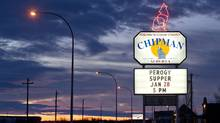 A welcome sign lights up the entrence to Chipman Alta. (Jason Franson/Jason Franson)