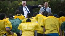 Mayor elect Rob Ford takes part in practice as coach of Don Bosco high school football team in Etobicoke, Ont. Oct. 26/2010. (Kevin Van Paassen/The Globe and Mail/Kevin Van Paassen/The Globe and Mail)
