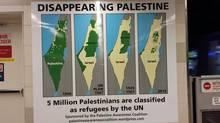 An ad at a SkyTrain station in Vancouver depicting a map of shrinking Palestinian territory. (Noor Kesbeh/Palestine Awareness Coalition/Handout)