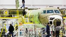 A Bombardier Q400 airplane is being assembled at the Bombardier aircraft manufacturing facility in Toronto in this 2010 file photo. (MARK BLINCH/REUTERS)