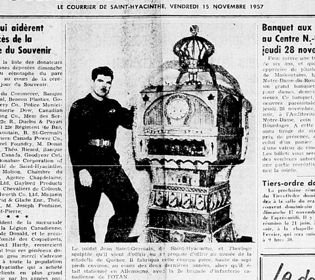 In 1957, Jean St-Germain, then a 20-year-old paratrooper posted in West Germany, was featured in his hometown paper after he designed a giant clock that played his regiment's marching song.