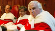 Supreme Court Justice Morris Fish (right) addresses them Supreme Court of Canada after he was sworn in as a justice to the high court, Wednesday October 15, 2003 in Ottawa. (Fred Chartrand/The Canadian Press/Fred Chartrand/The Canadian Press)