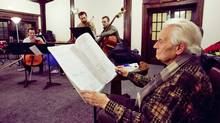 Udo Kasemets at a rehearsal: His works are often translations of mathematical concepts. (Della Rollins)