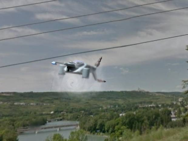 Michael O'Reilly's iPhone camera photos of what he to be a UFO flying about 500 feet off the ground along the path of the Bow River. He hired a digital artist to the interpolate images into a high resolution rendering.
