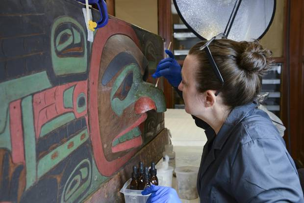 The restoration of the Northwest Coast Hall includes a major effort by the Museums Objects Conservation Laboratory to conserve more than 1,000 items from the Northwest Coast collection.