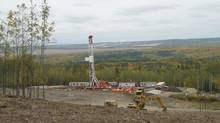 Ensign drilling at Storm Exploration Inc.'s Montney site. (Handout)
