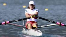 Tracy Cameron from Canada competes in the Women's Lightweight Single Sculls semi-finals at the Rowing World Championships in Bled, Slovenia, Thursday, Sept. 1, 2011. (Associated Press)